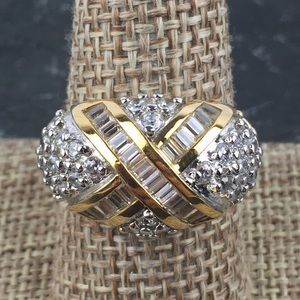 Ross Simons CZ Dome SS Gold Vermeil Ring 9